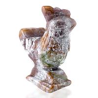 Яшма серо-коричневая, статуэтка петух, 150ФГЯ