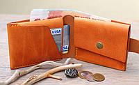 """Шкіряний гаманець """"Сase"""", кожаный кошелек ручної роботи, натуральна шкіра, на кнопці, фото 1"""