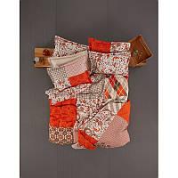 Постельное белье Karaca Home Vera оранжевое пано ранфорс полуторное