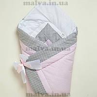 """Конверт-одеяло зимний  для новорожденного """"Горошки на розовом"""", фото 1"""