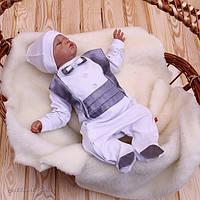 """Детский комплект """"Фрак"""" для новорожденного мальчика (серебро)"""