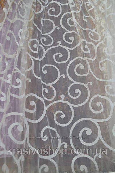 Тюль органза белая с рисунком ,  высота  2.8 м