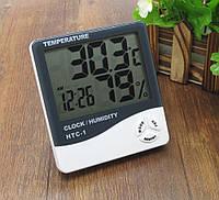Электронный гигрометр термометр HTC-1, часы, будильник, календарь