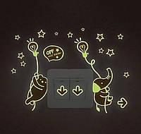 Светящиеся наклейки на потолок звездное небо  на стену на включатель, выключатель  054