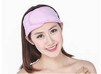 Косметическая повязка на голову на липучке (розовая/оранжевая)