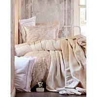 Набор постельного белья Karaca Home с покрывалом + плед Timeless toprac (бежевый) евро размера