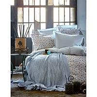 Набор постельного белья Karaca Home + плед Freya blue евро размера