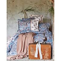 Набор постельного белья Karaca Home + плед Mandila blue евро размера