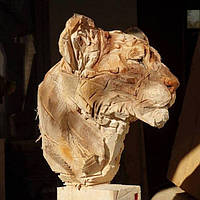 Скульптор создал портреты животных при помощи одной бензопилы