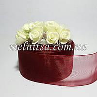 Лента из органзы, шир. 5 см, цвет бордовый, 1м