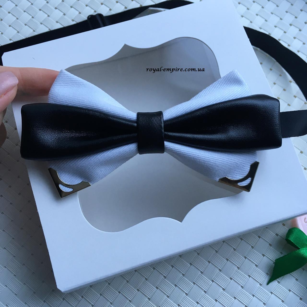 """Чоловіча метелик """"Амелі"""" білий, подарунковій упаковці."""