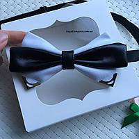 """Мужская бабочка """"Амели"""" белый, в подарочной упаковке."""