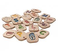 Деревянный Английский алфавит языка жестов A-Z, PlanToys