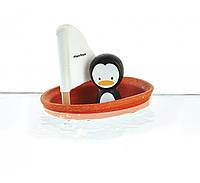 Деревянная игрушка Пингвин в парусной лодке, PlanToys