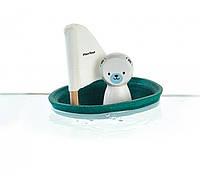 Деревянная игрушка Белый медведь в парусной лодке, Plan Toys
