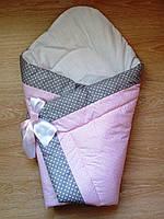 Теплый конверт Одеяло для девочек зима 90х90см розовый серый горошек  бант