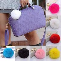 Меховые брелоки на сумку Помпоны. 5 цвета