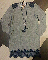 Платье туника с меховыми карманами для девочки.
