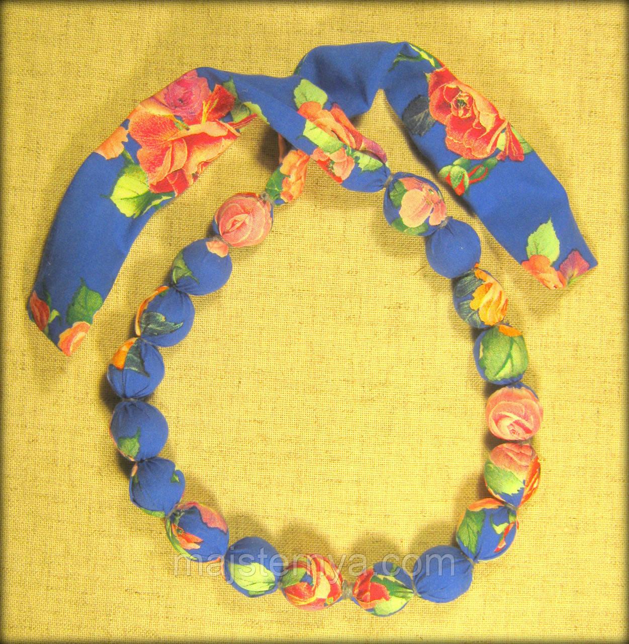 Етно намисто квіти на синьому