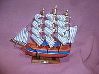 Корабль деревянный трехмачтовый с голубой полосой сувенир 19х19 сантиметров
