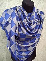 "Палантин  ""Шахматы"", 80х160 шелк+шерсть, цв. Сине-серый"