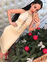 Платье миди с люрексовой ниткой, на груди завязывается, фото 1