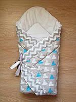 Теплый конверт Одеяло на выписку весна осень зима 90х90см серый голубые сердца бант