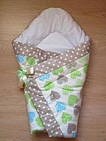 Теплый конверт Одеяло на выписку весна осень зима 90х90см белый голубые зеленые сердца бант