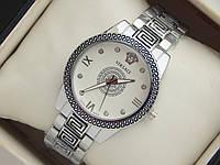 Хит 2016! Женские кварцевые наручные часы Versace серебристого цвета с орнаментом, фото 1