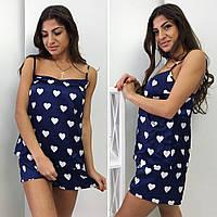 Элегантная женская пижамка в сердечко, майка и шорты, цвет синий
