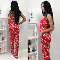 Элегантная женская пижамка , майка и штаны, цвет красный