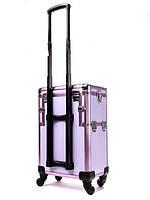 Большой чемодан для косметики, раскладной на колесах 3551, YRE