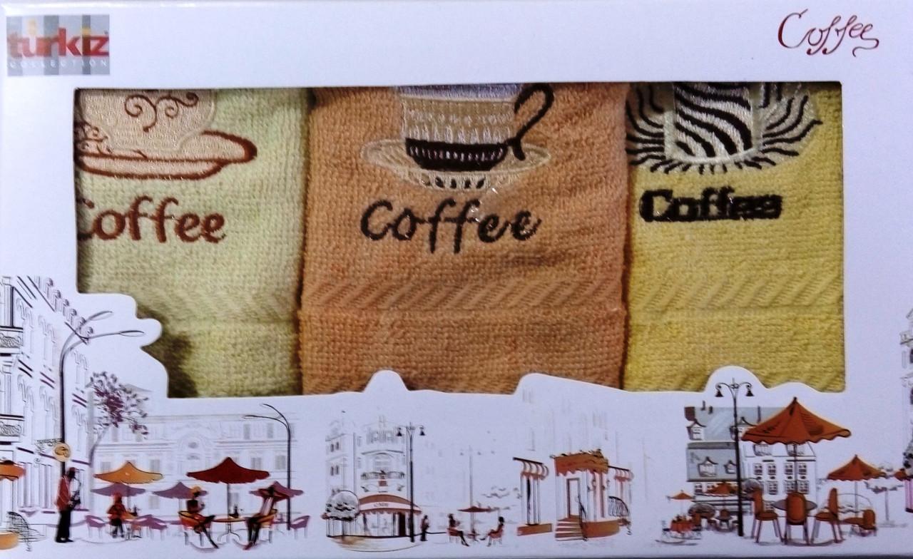 Подарочный набор кухонных махровых полотенец Латте