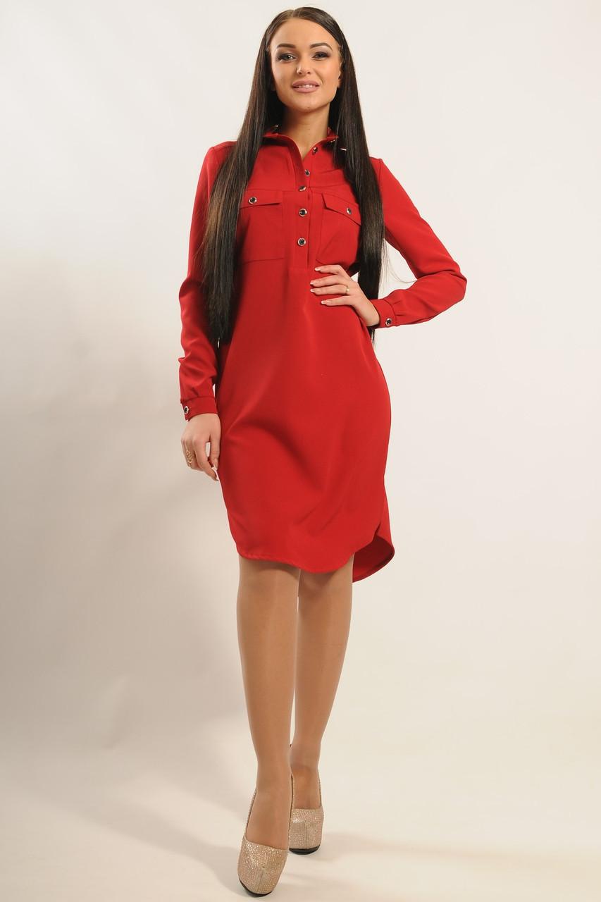 Стильное платье–рубашка из костюмкиTekila (42–52р)  в расцветках