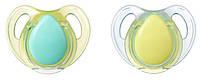 Латексные пустышки, форма вишенка, 0-6 месяцев, (2 штуки), Tommee Tippee, бирюзово-салатовый (43323640-2)