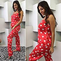 Элегантная женская пижамка в сердечко, майка и штаны, цвет красный