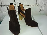 Женские ботильены- туфли из натуральной  замши, коричневые