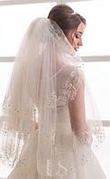 Свадебная фата с вышивкой в три яруса (КВ-В-3сл-1м-Ст) и стразами