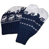 Вязаная зимняя шапка - носок (утепленный вариант) и варежки c норвежскими орнаментами