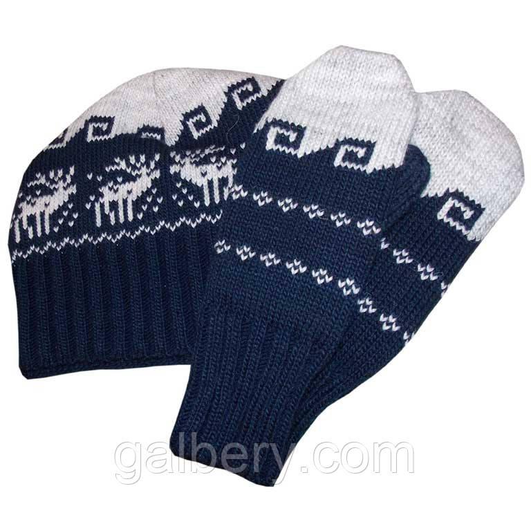 Зимняя шапка носок с орнаментом и варежки