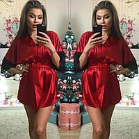 Красивый женский халатик с кружевом, цвет красный