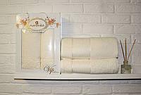 Набор полотенец в подарочной коробке/белые/140х70