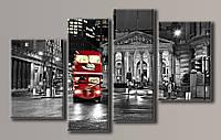 Картина модульная на холсте Красный автобус