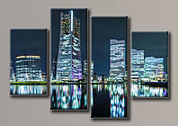 Картина модульная на холсте Ночной город 2 110*159(4) см.