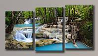 Картина модульная на холсте Водопад 6 91,5*171(3) см.