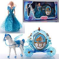 Карета 219A  36 см, свет, лошадь 30 см (звук,ходит,машет крыл), кукла 29 см, на батарейке, в коробке, 60-20-33