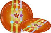 Тарелка бумажная круглая 18см рыжая
