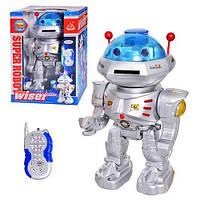 Робот 28072 на радиоуправлении, стреляет дисками, на батарейках, ходит, танцует, +свет, звук, пластик.