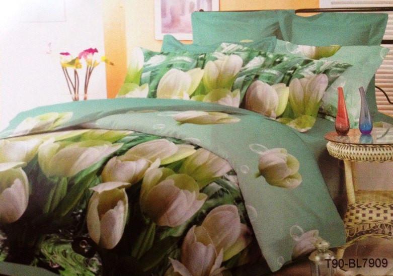 Двуспальный комплект постельного белья Белый Тюльпан