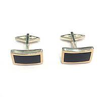 Серебряные мужские запонки с ониксом и золотом